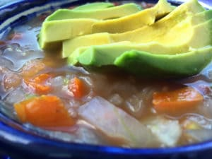 Spicy Pinto Bean Soup with Avocado